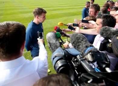 Seamus Coleman speaks to the media yesterday.