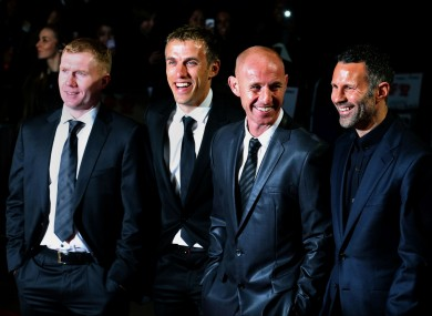 Paul Scholes, Phil Neville, Nicky Butt and Ryan Giggs during 'The Class of 92' world premiere.