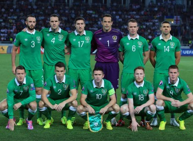 Ireland's starting XI.