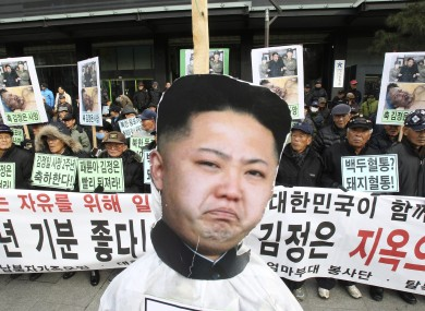 A portrait of Kim Jong-un at a rally in South Korea last year.