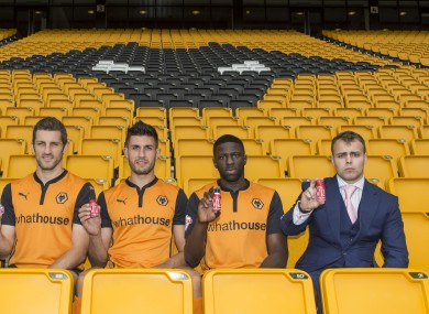 Ciaran Greenwood, far right, with players from the Wolverhampton Wanderers FC.