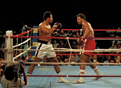 Ali vs Foreman in the Rumble in the Jungle in 1974.