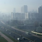 City blocks are seen immersed in smog in the Belarusian capital, Minsk. (AP Photo/Sergei Grits)<span class=