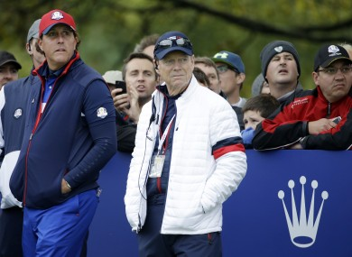US team captain Tom Watson and Phil Mickelson.