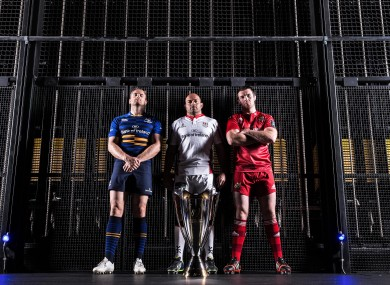 Leinster's Jamie Heaslip, Ulster's Rory Best and Peter O'Mahony of Munster at today's launch.
