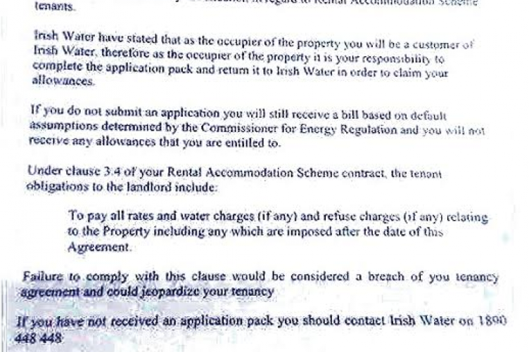 This letter threatens tenants with eviction if they don't pay water charges