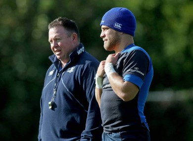 Matt O'Connor with Ian Madigan at Leinster training in UCD yesterday.