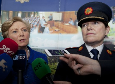 Frances Fitzgerald with acting Garda Commissioner Noirin O'Sullivan (File photo).