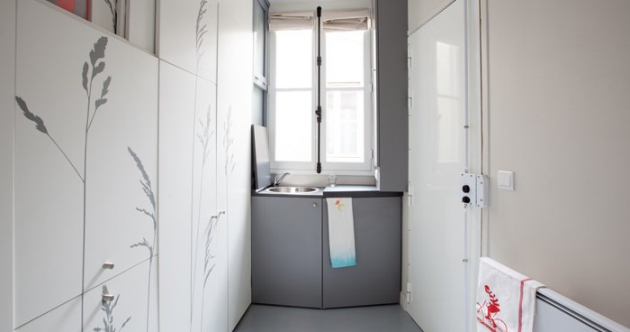 Check out the tiniest apartment in Paris – yes, that's the bed in the cupboard