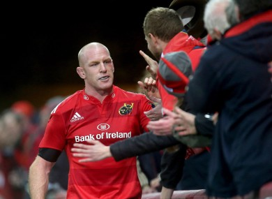 Paul O'Connell celebrates with the Thomond Park crowd after beating Saracens.
