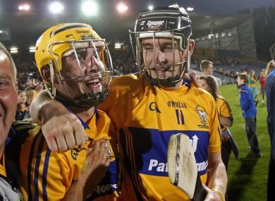 Galvin celebrates Clare's three in a row with captain Tony Kelly.