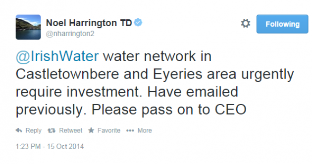 These TDs are resorting to Twitter to complain about Irish Water services…
