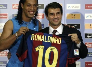 Heyday: Ronaldinho and Juan Laporta.