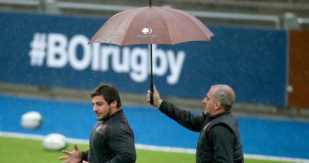 Snapshot: Georgia's rugby players struggled to deal with the elements in Dublin today