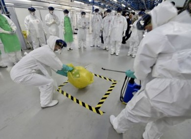 NHS staff in the UK run a training drill for combating Ebola earlier this month