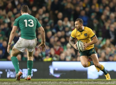 Henshaw keeps a close eye on Quade Cooper this evening.