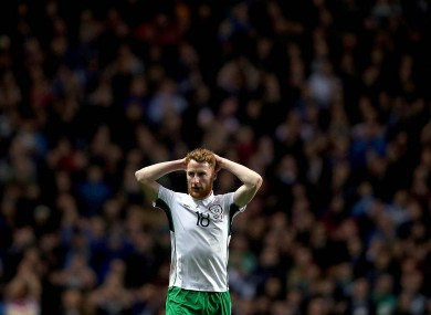 Ireland's Stephen Quinn dejected after the game.
