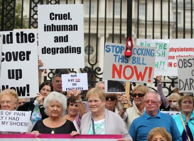 Survivors and supporters at a protest outside the Department of An Taoiseach on Merrion Street in September.