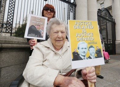 Nora O Brian from Inchicore protests at Government Buildings in September.