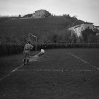 Huge crowds of soldiers line the football pitch to watch the Fanshawe Cup Final in Trissino, Italy.<span class=
