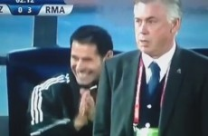 Ronaldo gets the Ancelotti death stare after failed rabona half-volley