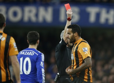 Huddlestone was sent-off after the break.