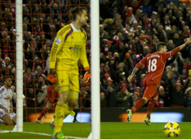 Alberto Moreno opened the scoring at Anfield.