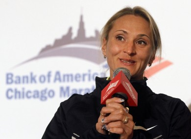 In this Oct. 5, 2012, file photo, Lilya Shobukhova, from Russia, responds to a question during a news conference of elite runners participating in the Chicago Marathon in Chicago. Russia faced explosive allegations of systematic doping on Wednesday.