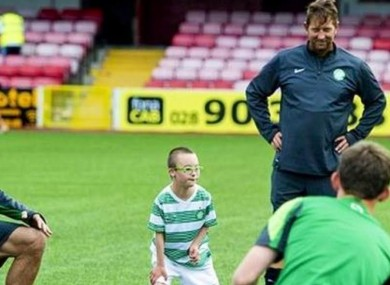 Jay Beatty trains with the Celtic team.