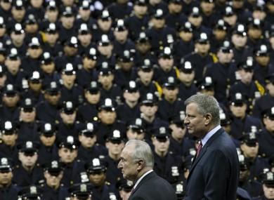 Bill de Blasio (right) and NYPD police commissioner Bill Bratton at the ceremony.