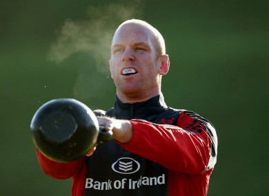 Paul O'Connell warms up at Munster training in UL yesterday.