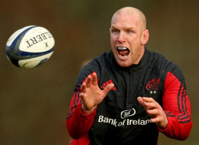 Paul O'Connell  at Munster training in UL yesterday.
