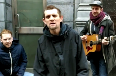 Homeless Love/Hate Jesus raver sings with buskers on Grafton Street
