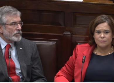 Sinn Féin leader Gerry Adams and deputy leader Mary Lou McDonald