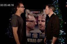 Jamie Carragher takes on Irish comedian Jason Byrne in marathon staring contest