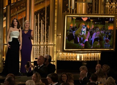 Tina Fey and Amy Poehler presenting the 2015 ceremony