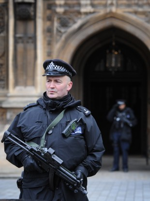 Armed police officers outside the Houses of Parliament in London.