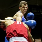 Adam Nolan (blue) and Craig McCarthy (red) in action at the National Senior Elite Boxing Championships.<span class=