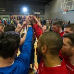 UCC Demons players celebrate their victory over Travelodge Swords Thunder in the Men's National Cup semi-final.<span class=