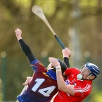 Cork's Damien Cahalane and Thomas Cleary of UL contest a high ball during their Waterford Crystal Cup match.<span class=
