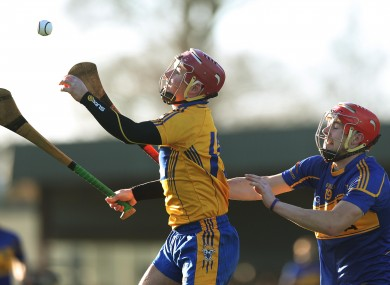 Clare's David O'Halloran gets the better of Stephen Maher of Tipperary.