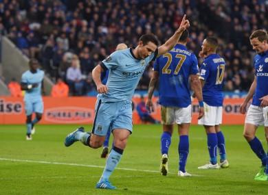 Frank Lampard celebrates scoring at Leicester.