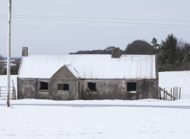 The Curragh Plains in County Kildare, this morning, as large sections of the country got a covering of snow during the night.