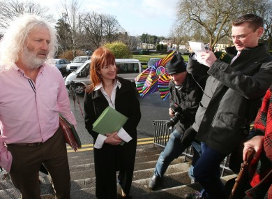 Mick Wallace and Clare Daly arrive at Ennis District Court today