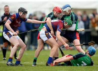 UL and Limerick IT players battle for possession.
