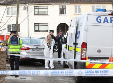 Garda forensic team lead by State Pathologist Marie Cassidy at the scene today.