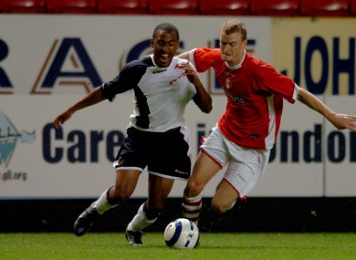 Hamed (right) playing for Spurs' reserves in 2005.