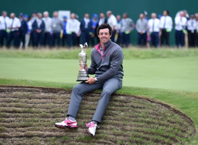 Rory McIlroy with the Claret Jug after winning the 2014 Open Championship at Royal Liverpool Golf Club.