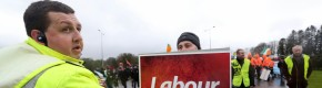 'Hide your phone, here comes Joan': A few hundred protesters are outside the Labour conference