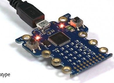 A prototype photo of the Micro Bit, which will be given to every 11-year-old child in the UK.